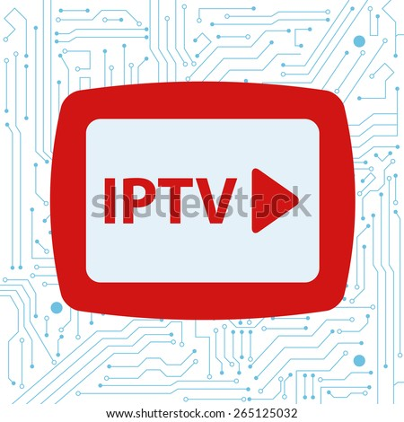 iptv concept with integrated circuits - stock vector