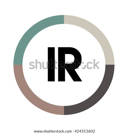 IR letters, four colors in abstract background logo, design identity in circle, alphabet letter