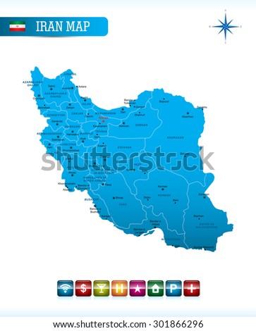 Iran Blue Map - stock vector