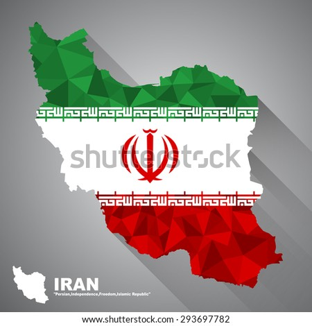 Iran flag overlay on Iran map with polygonal and long tail shadow style (EPS10 art vector) - stock vector
