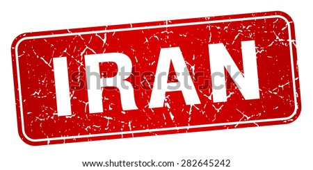 Iran red stamp isolated on white background