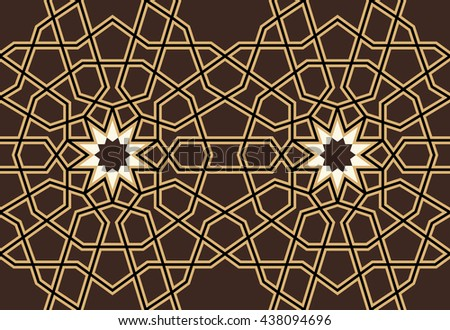 Iran Star Seamless Border. Traditional Islamic geometric Design. Ocher, white on Brown. Mosque decoration element.