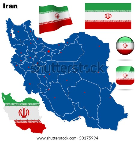 Iran vector set. Detailed country shape with region borders, flags and icons isolated on white background. - stock vector