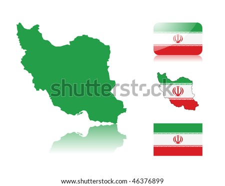 Iranian map including: map with reflection, map in flag colors, glossy and normal flag of Iran. - stock vector