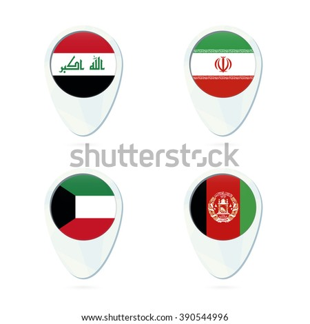 Iraq, Iran, Kuwait, Afghanistan flag location map pin icon. Vector Illustration. - stock vector