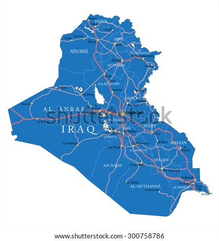 Iraq map with administrative regions, main cities and roads. - stock vector