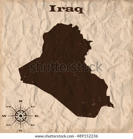 Iraq old map with grunge and crumpled paper. Vector illustration