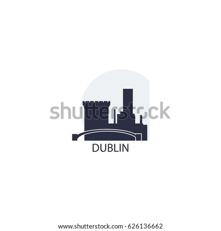 Ireland Dublin modern city panorama view landscape flat vector icon logo
