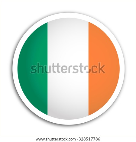 Ireland flag button - stock vector