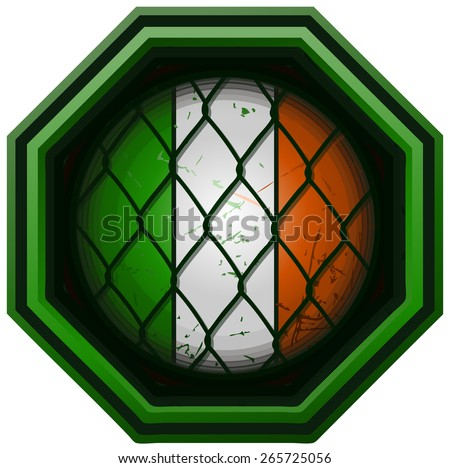 Ireland Flag MMA Octagon Sign, Vector Illustration isolated on White Background. - stock vector