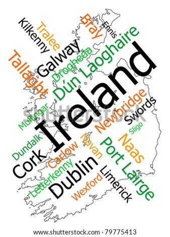 Ireland map and words cloud with larger cities - stock vector
