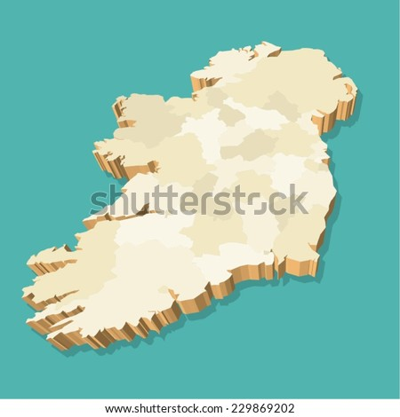 Ireland Map Vector Three Dimensional - stock vector