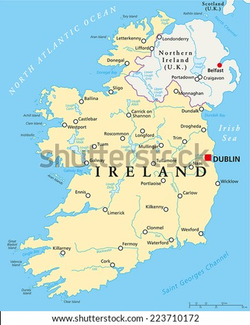 Ireland Political Map with capital Dublin, national borders, most important cities, rivers and lakes. English labeling and scaling. - stock vector