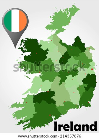 Ireland political map with green shades and map pointer. - stock vector