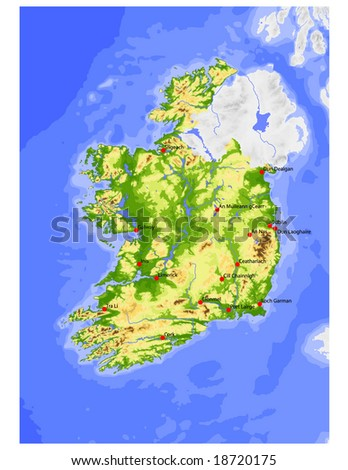 Ireland, Republic. Physical vector map, colored according to elevation, with selected cities. Surrounding territory greyed out. 31 layers, fully editable. Data source: NASA