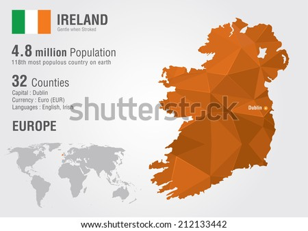 Ireland world map pixel diamond texture vector de stock212133442 ireland world map with a pixel diamond texture world geography gumiabroncs Image collections