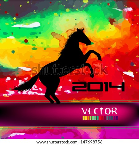 iridescent water color horse. 2014 - stock vector