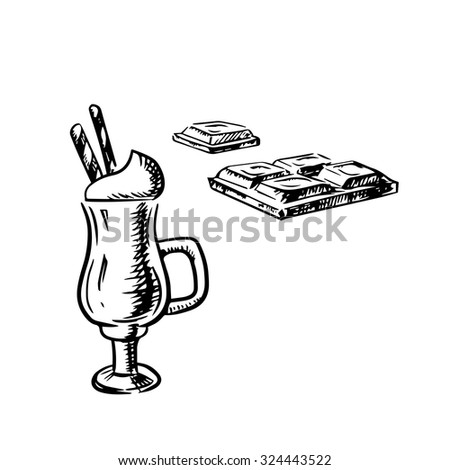 Irish coffee served in traditional glass cup with whipped cream and waffle rolls and bar of milk chocolate isolated on white background, sketch style - stock vector