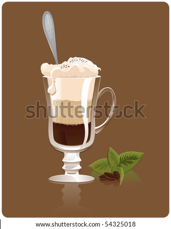 Irish coffee with decoration - stock vector