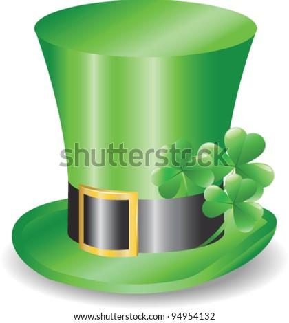 Irish hat replicon with three clover trefoils - stock vector
