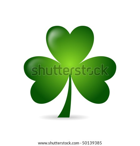 Irish shamrock ideal for St Patrick's Day isolated over white background - stock vector