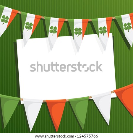 irish st patricks day party card with bunting and card for text - stock vector