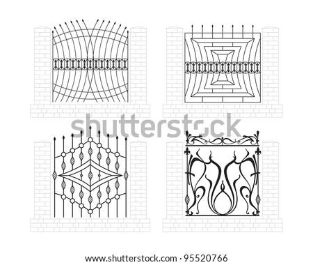 iron fence - stock vector