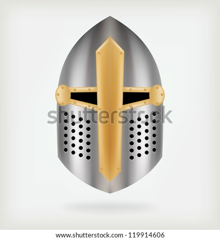 Iron helmet of the medieval knight. Vector - stock vector