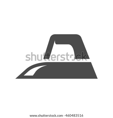 Iron icon in black and white grey single color. Laundry equipment electric appliance - stock vector
