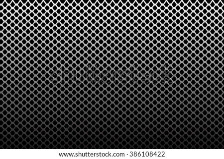 Iron wire mesh pattern on black gradient background vector illustration.