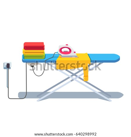 Ironing Board With Clothes Stack And Shirt Under Socket Plugged Electric  Iron. Flat Style Vector
