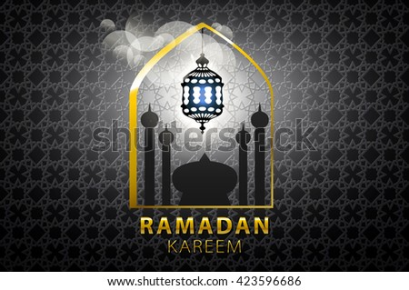 Islam, arabic, muslim background in arch. V s. Celebration card for Eid Ul Adha festival, Ramadan Kareem, holiday template. Mosque, minaret, Crescent. Vintage Illustration. art - stock vector