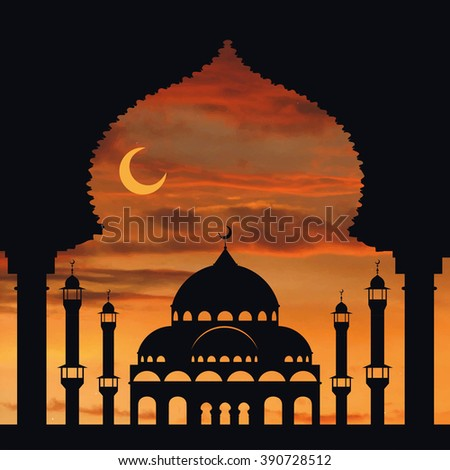 Islam,arabic,muslim background in arch.Vector Sunset sky,clouds. Celebration card for Eid Ul Adha festival,Ramadan Kareem,holiday template.Mosque,minaret,Crescent.Vintage Illustration.Orange