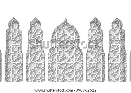 Islam,arabic muslim pattern background.Vector Celebration card for Eid Ul Adha festival,Ramadan Kareem,arabic holiday template.Arches,windows with ethnic ornament.Vintage Illustration.White - stock vector