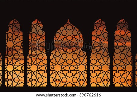 Islam,arabic muslim pattern background with orange sunset clouds.Vector Celebration card for Eid Ul Adha festival,Ramadan Kareem.Arches,windows with ethnic ornament.Vintage Illustration - stock vector