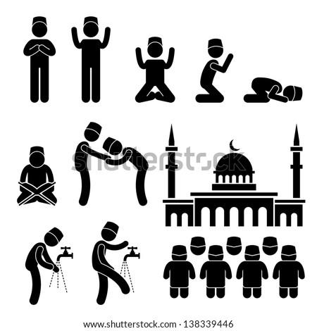 Islam Muslim Religion Culture Tradition Stick Figure Pictogram Icon - stock vector