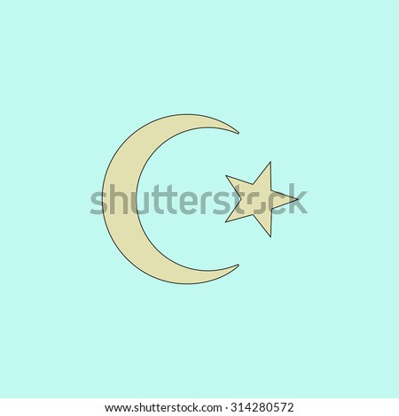 Islam Symbol Flat Simple Line Icon Stock Vector 314280572 Shutterstock