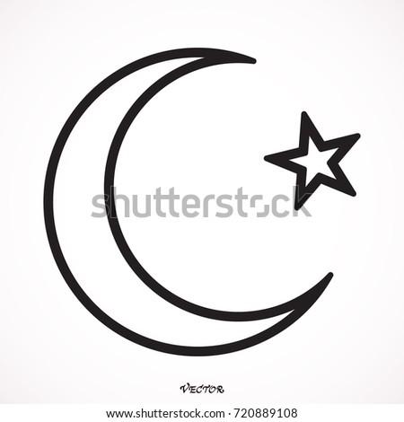 Islam Symbol Moon Star Icon Isolated Stock Vector Hd Royalty Free
