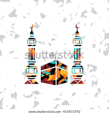 islamic abstract calligraphy art theme hajj