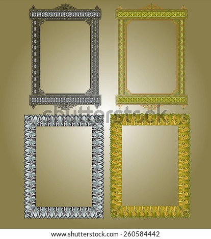 islamic border frame set - stock vector