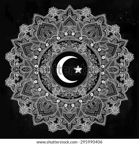 Islamic crescent moon in elegant circle ornate background. Ideal for Ramadan or any Muslim artwork. Vintage decorative vector elements isolated. Hand drawn paisley background. Tattoo, paper, textiles. - stock vector