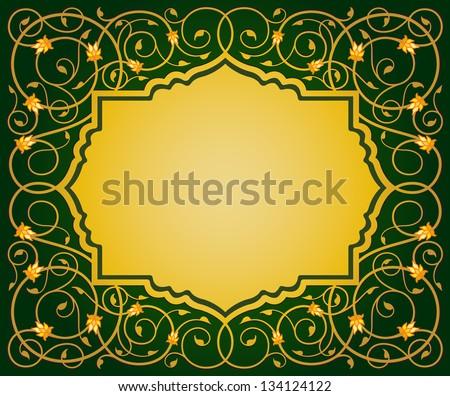 islamic elegant floral art border illustration - stock vector
