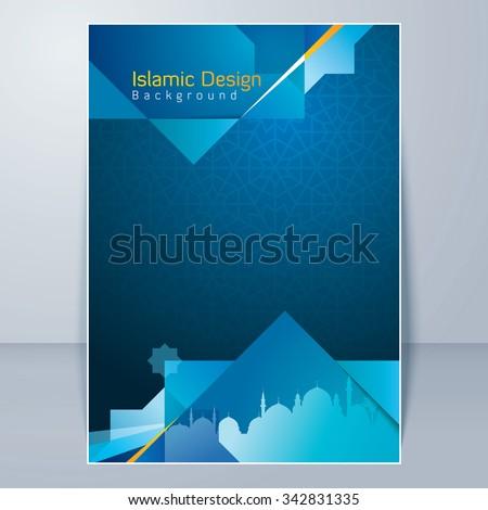 Islamic flyer design background template stock vector for Islamic brochure design