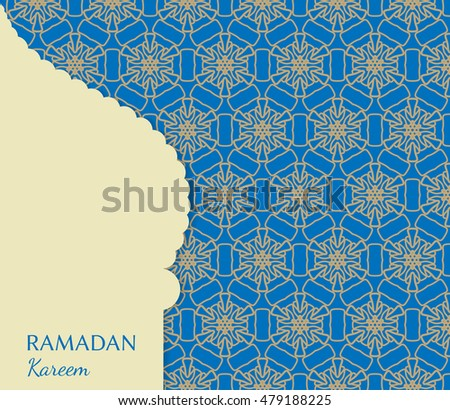 Islamic greeting card template arabic muslim stock vector 479188225 islamic greeting card template arabic muslim background seamless line pattern celebration card for m4hsunfo