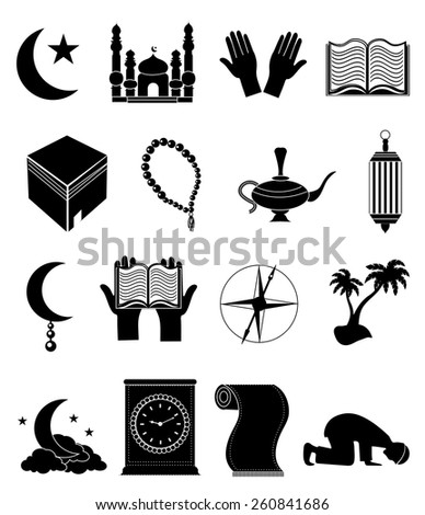 Islamic icons set - stock vector