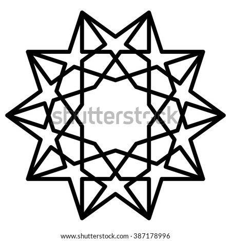 Islamic motif, sacred geometry, star mandala, vector illustration - stock vector