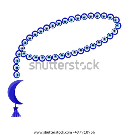 Islamic prayer beads icon in cartoon style isolated on white background. Religion symbol stock vector illustration
