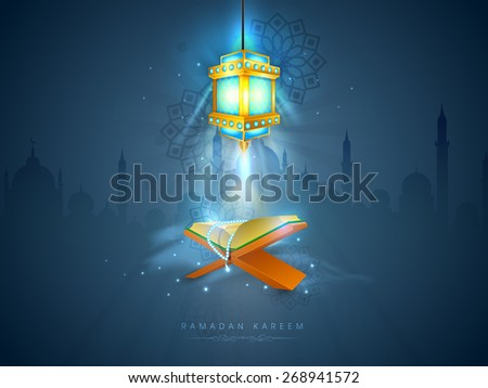 Islamic religious book Quran Shareef with rosary shining in the lantern's light on Mosque silhouette background for Islamic holy month of prayers, Ramadan Kareem celebration. - stock vector