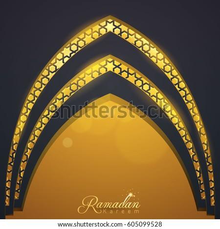 Islamic vector design Ramadan Kareem greeting template mosque door with arabic pattern illustration & Islamic Vector Design Ramadan Kareem Greeting Stock Photo (Photo ...