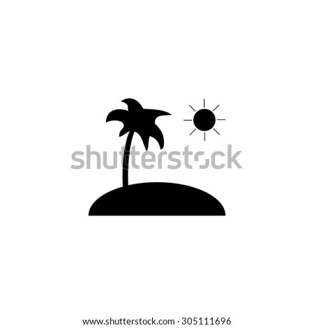 Island and palm. Black simple vector icon
